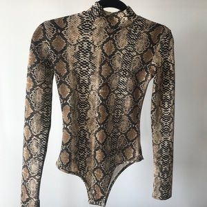 Size small snakeskin long sleeve bodysuit